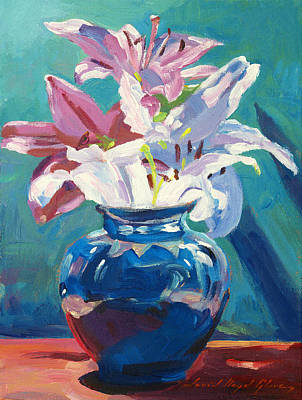 Lilies In Blue Print by David Lloyd Glover