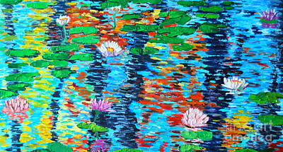 Lotus Leaves Painting - Lily Pond Fall Reflections by Ana Maria Edulescu