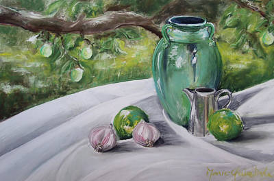 Outdoor Still Life Painting - Limes And Mirabelles by Marie-Claire Dole