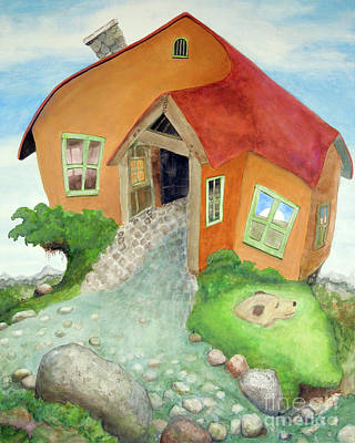 Dog In Landscape Painting - Lindsay's Stucco Cottage by Will Lewis