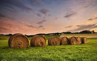 Y120817 Photograph - Line Of Hay Bales At Sunset by Verity E. Milligan