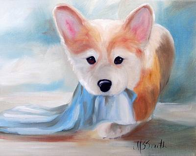Puppy Painting - Linus And His Blanket by Mary Sparrow