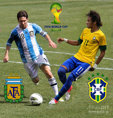 Lionel Messi And Neymar Clash Of The Titans Fifa World Cup 2014 And Team Logos Print by Lee Dos Santos