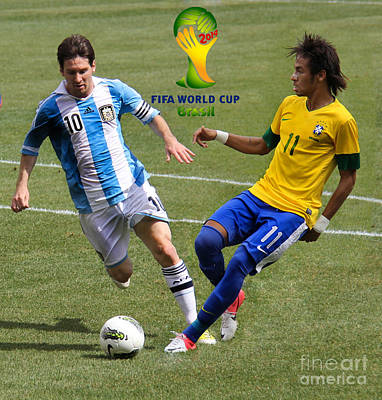 Lionel Messi And Neymar Clash Of The Titans Fifa World Cup 2014 II Print by Lee Dos Santos