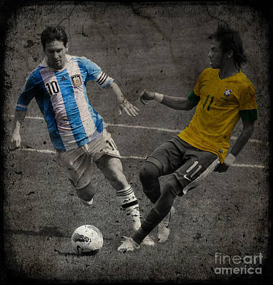 Lionel Messi And Neymar Clash Of The Titans Vii Print by Lee Dos Santos