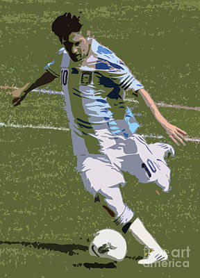 Lionel Messi Kicking II Print by Lee Dos Santos