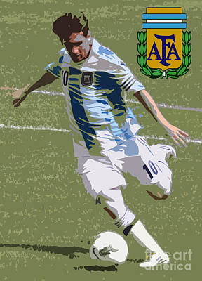 Lionel Messi Kicking Vi Print by Lee Dos Santos
