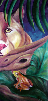 Lioness And Frog Print by Juliana Dube