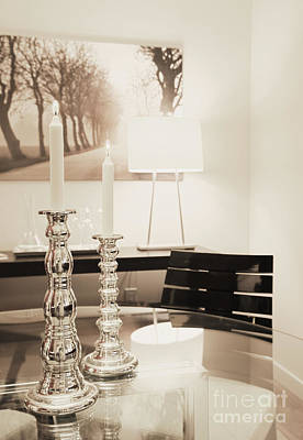 Lit Candles In Silver Candlesticks Print by Andersen Ross