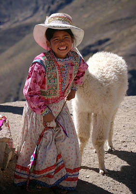 Little Girl And Baby Alpaca Print by RicardMN Photography