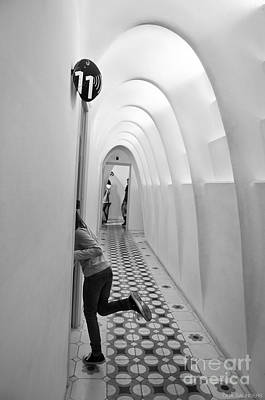Little Girl In Casa Batllo Barcelona Black White Print by Design Remix
