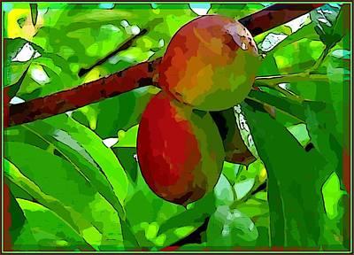 Peach Digital Art - Little Peaches by Mindy Newman