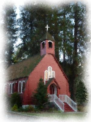 Little Red Church Painting Print by Cindy Wright