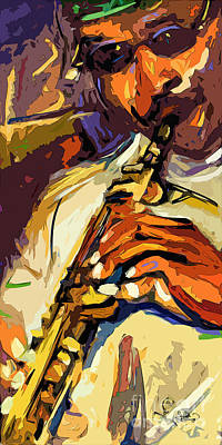 Live Horn Session #1 Print by Ginette Callaway