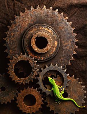 Lizard On Gears Print by John Wong
