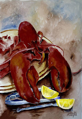 Lemon Digital Art - Lobster Feast by Arline Wagner