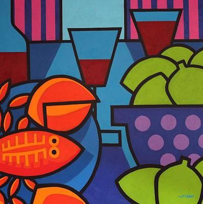 Wine Glasses Painting - Lobster Still Life by John  Nolan