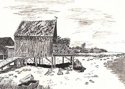 Seacoast Drawing - Lobster Traps by Jimmy McAlister