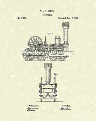 Train Drawing - Locomotive 1842 Patent Art by Prior Art Design