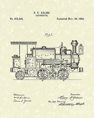 Train Drawing - Locomotive 1886 Patent Art by Prior Art Design