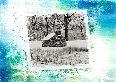 Christmas Cards Digital Art - Log Cabin Christmas Card by Bill Cannon