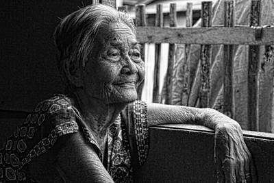 Filipina Photograph - Lola Laraine Favorite Spot Image 28 In Black And White by James BO  Insogna