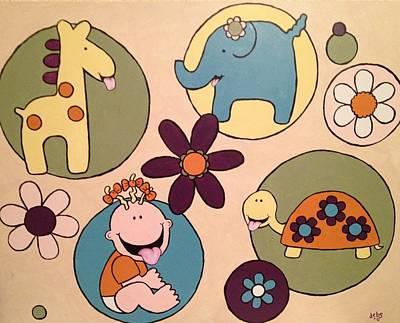 Giraffe Painting - Lollipop Jungle Tongue by Sheep McTavish