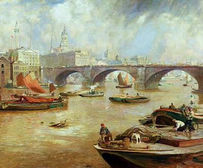 London Bridge From Bankside Print by Sir David Murray