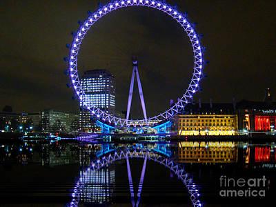 London Eye At Night Print by Al Bourassa