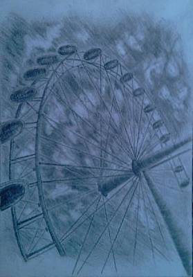 London Eye Drawing - London Eye by Konec Ck