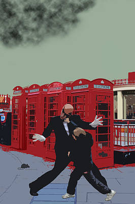 London Matrix Punching Mr Smith Print by Jasna Buncic