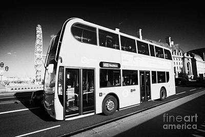 London Red Double Decker Bus Public Transport Crossing Westminster Bridge England United Kingdom  Print by Joe Fox