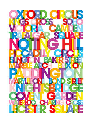 London Text Bus Blind Print by Michael Tompsett
