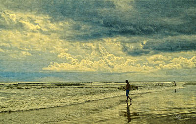 Lone Surfer Print by Barbara Middleton
