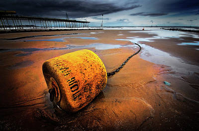 Lonely Yellow Buoy Print by Meirion Matthias