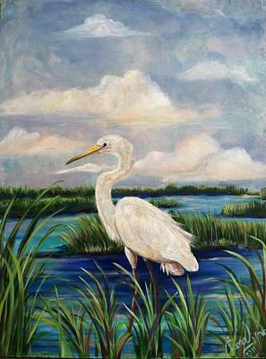 Painting - Lonesome Egret by Doralynn Lowe