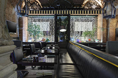Tableware Photograph - Long Leather Seats In Restaurant by Magomed Magomedagaev