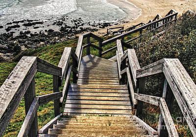 Long Stairway To Beach 2 Print by Kaye Menner