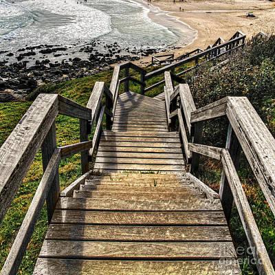 Long Stairway To Beach Print by Kaye Menner