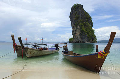 Long Tail Boats Thailand Print by Bob Christopher