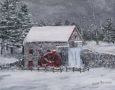 Longfellow S Grist Mill Painting - Longfellow's Grist Mill In Winter by Jack Skinner