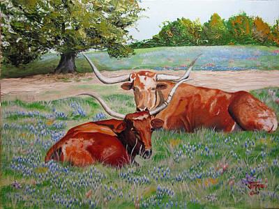 Steer Painting - Longhorns In Bluebonnet Field by Jimmie Bartlett