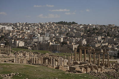 Jerash Photograph - Looking Down At The Ancient And Modern by Taylor S. Kennedy