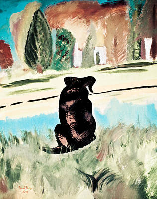 Black Lab Puppy Painting - Looking Off Into The Distance by Trish Tritz