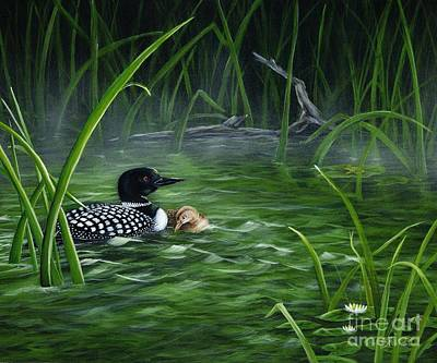 Loon Mom Protecting Baby Print by Sharon Molinaro