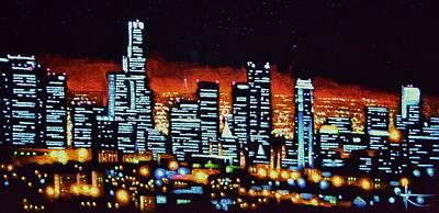 Los Angeles Skyline Painting - Los Angelas By Black Light by Thomas Kolendra
