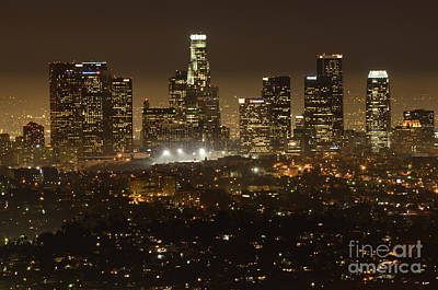 Los Angeles Skyline Photograph - Los Angeles Skyline At Night by Bob Christopher