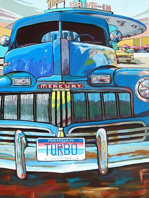 Drive-ins Painting - Lost In Time And Space by Sandy Tracey