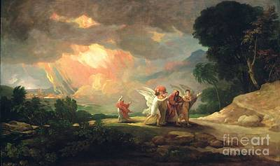 Destruction Painting - Lot Fleeing From Sodom by Benjamin West