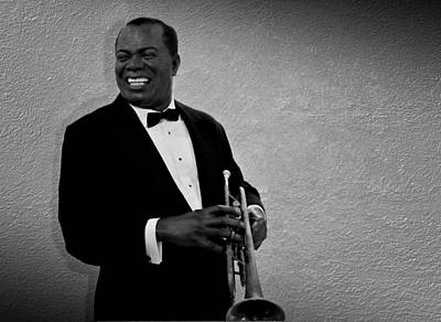 Trumpet Photograph - Louis Armstrong Bw by David Dehner